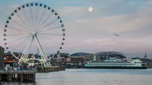 Waterfront full moon